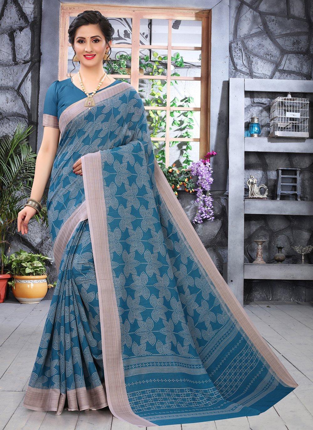 Cotton Printed Blue Printed Saree