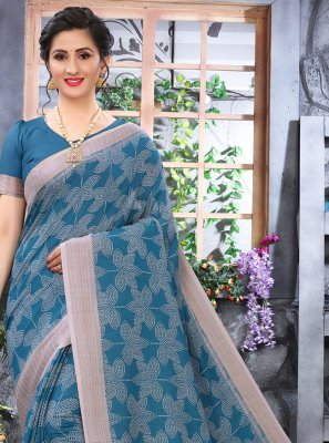 Cotton Printed Blue Printed Saree