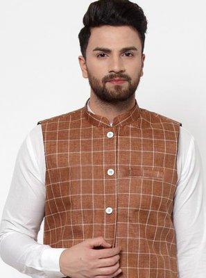 Cotton Printed Brown Nehru Jackets