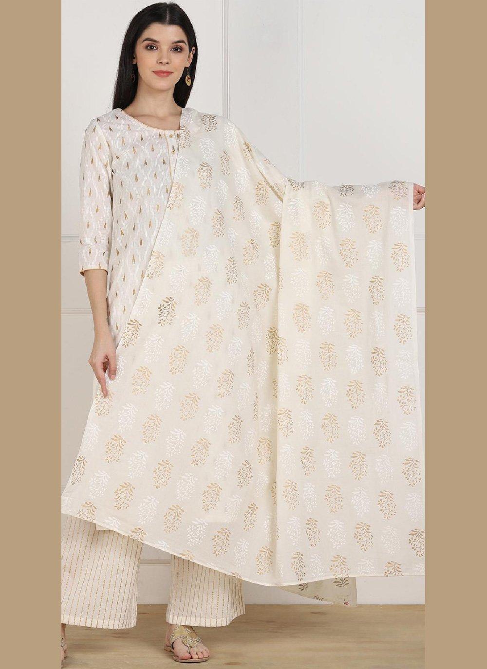 Cotton Printed Casual Kurti in Off White