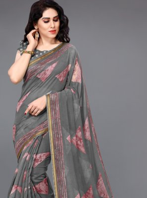 Cotton Printed Grey Printed Saree