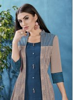 Cotton Printed Jacket Style in Blue