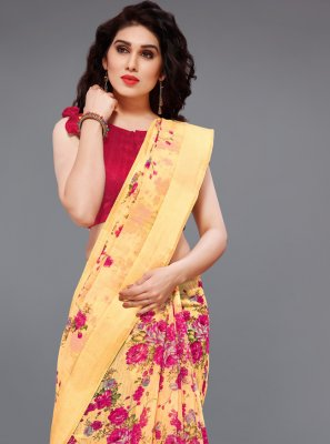Cotton Printed Multi Colour Printed Saree