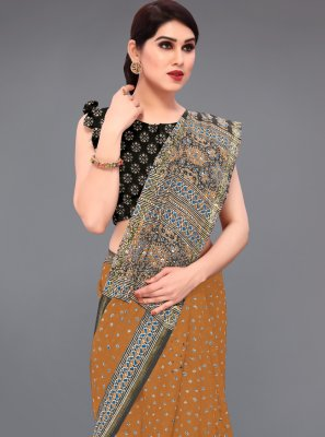 Cotton Printed Mustard Printed Saree
