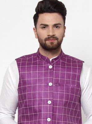Cotton Printed Nehru Jackets in Purple
