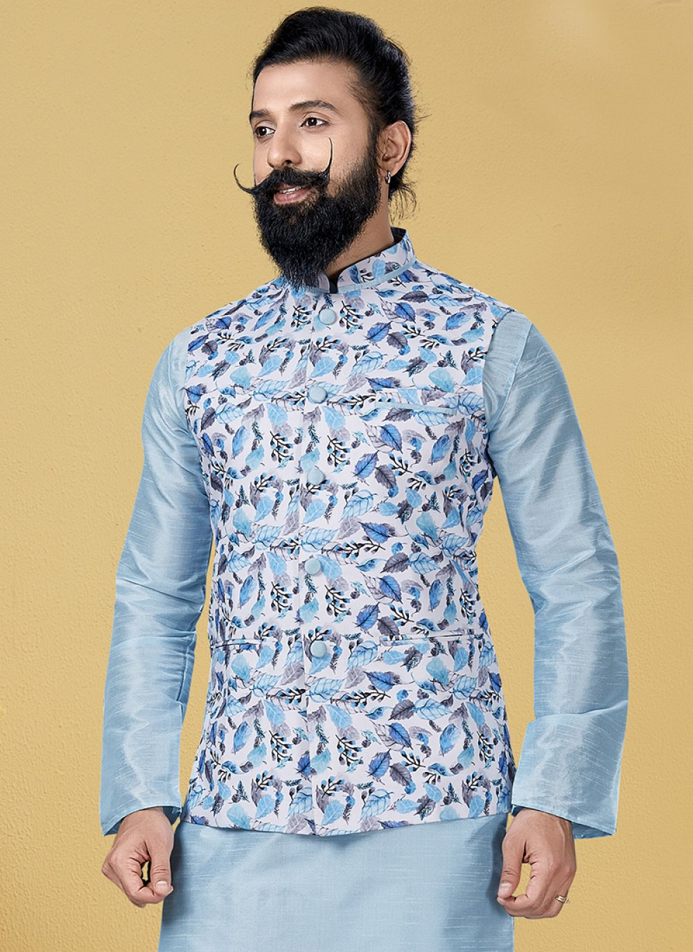Cotton Printed Nehru Jackets in Turquoise