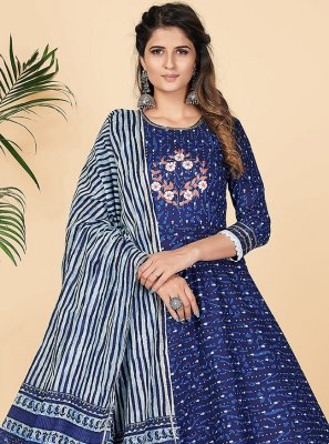 Cotton Printed Party Wear Kurti in Blue