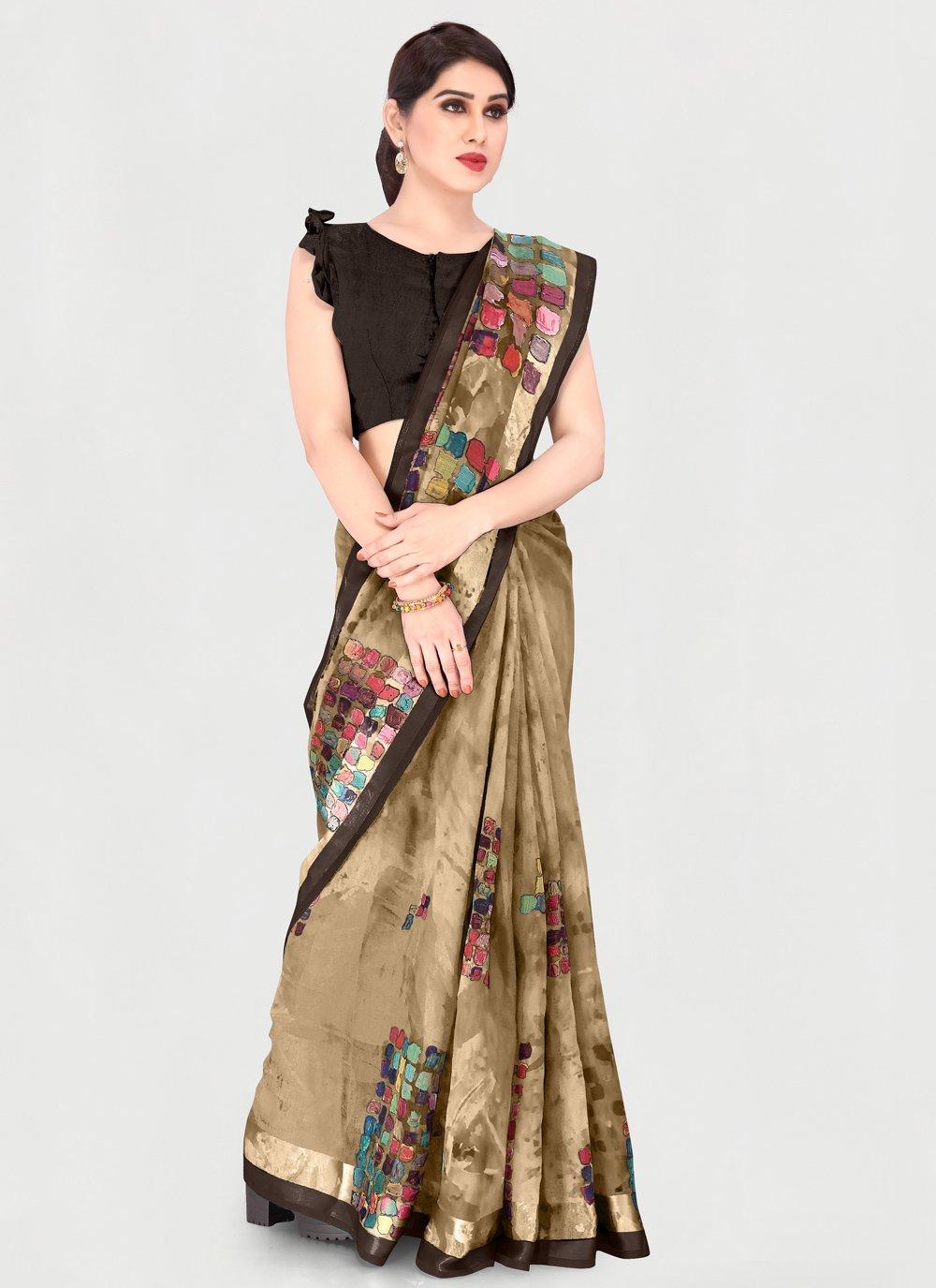 Cotton Printed Printed Saree in Beige