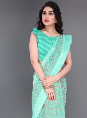 Cotton Printed Printed Saree in Blue