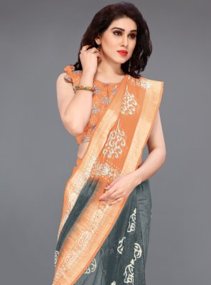 Cotton Printed Printed Saree in Grey and Peach
