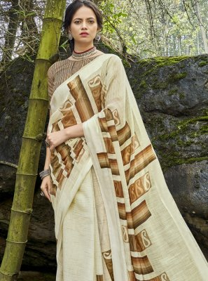 Cotton Printed Printed Saree in Multi Colour