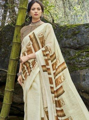 Cotton Printed Printed Saree in Multi Colour