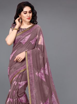 Cotton Printed Printed Saree in Wine