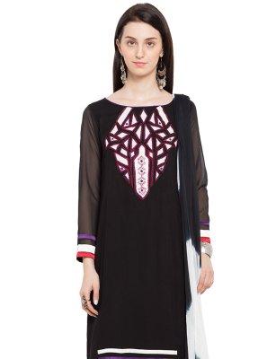 Cotton Printed Readymade Salwar Kameez in Black