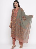 Cotton Printed Readymade Salwar Suit in Multi Colour