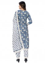 Cotton Printed Readymade Suit in Blue
