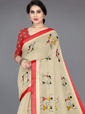 Cotton Printed Saree in Multi Colour