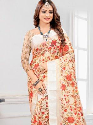Cotton Printed Saree in Orange