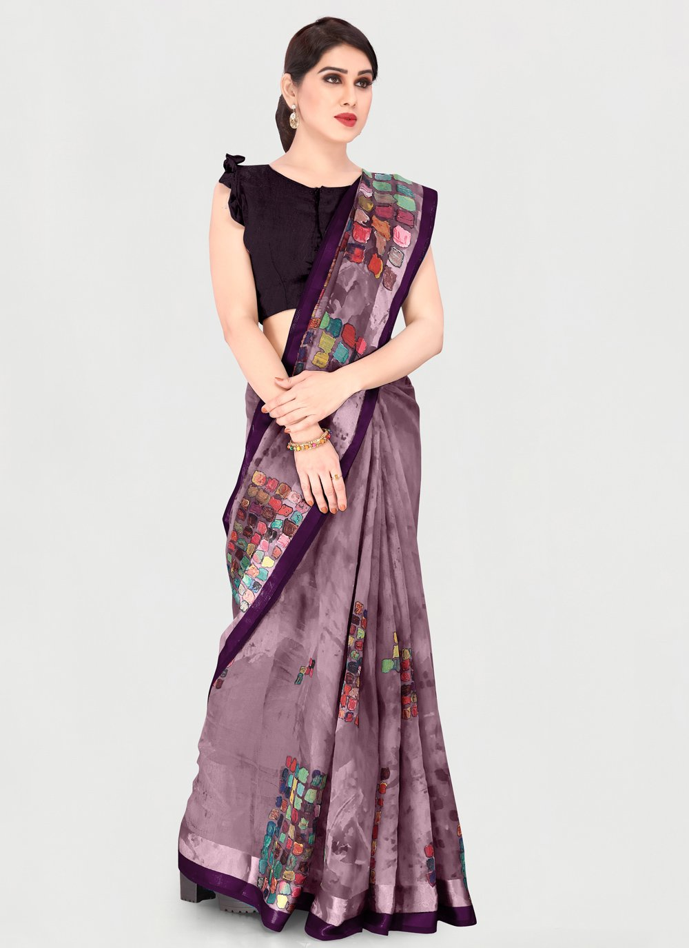 Cotton Printed Saree in Wine