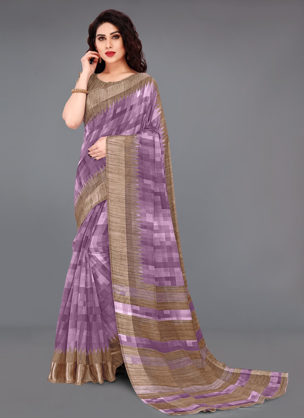 Cotton Purple Abstract Print Printed Saree