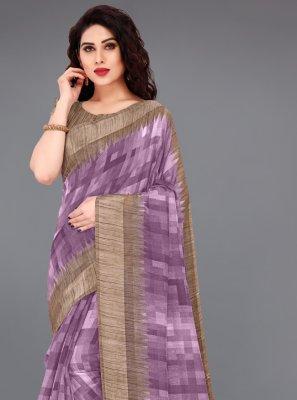 Cotton Purple Abstract Print Printed Saree