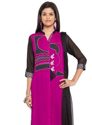 Cotton Purple Embroidered Readymade Salwar Kameez