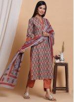 Cotton Readymade Salwar Suit in Multi Colour