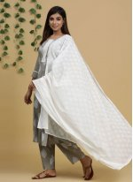 Cotton Readymade Suit in Grey