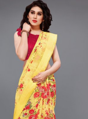 Cotton Red and Yellow Printed Printed Saree