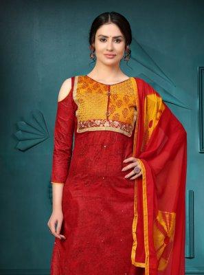 Cotton Red Churidar Salwar Suit