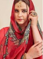 Cotton Red Designer Patiala Suit