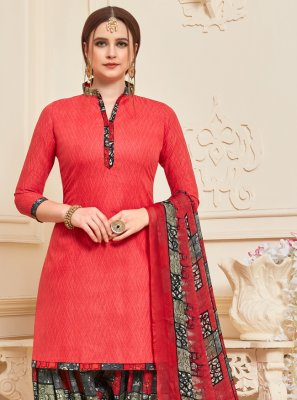 Cotton Red Designer Patiala Suit