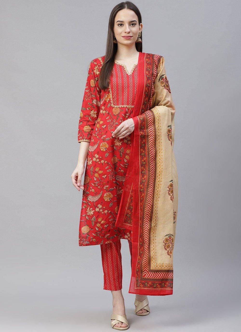 Cotton Red Designer Suit