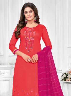 Cotton Red Embroidered Churidar Designer Suit