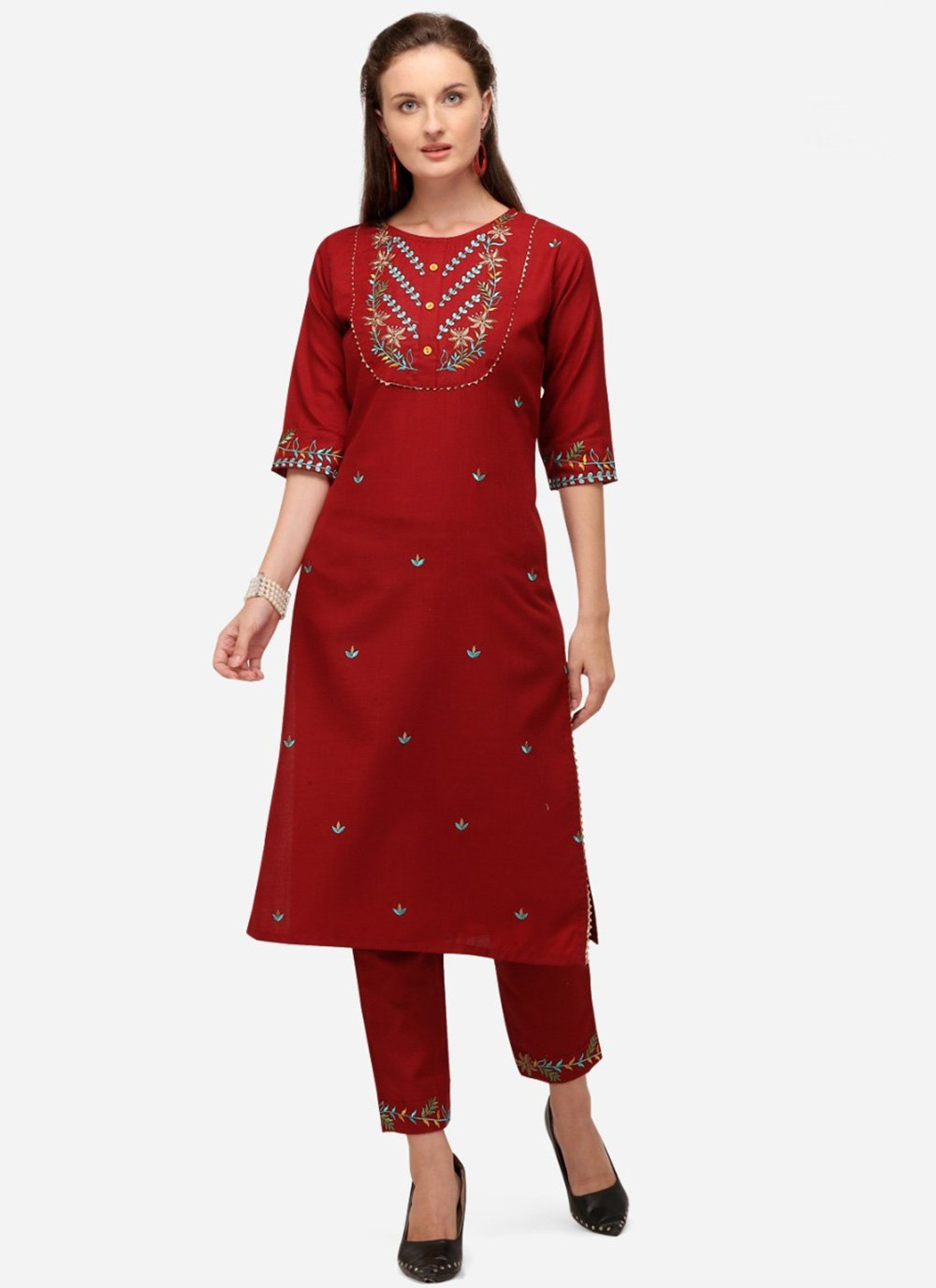 Cotton Red Embroidered Party Wear Kurti