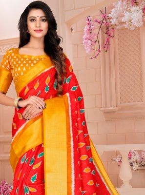 Cotton Red Printed Printed Saree