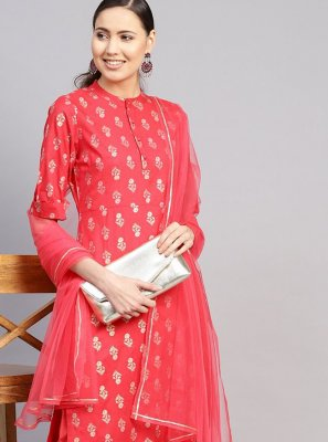 Cotton Red Readymade Suit