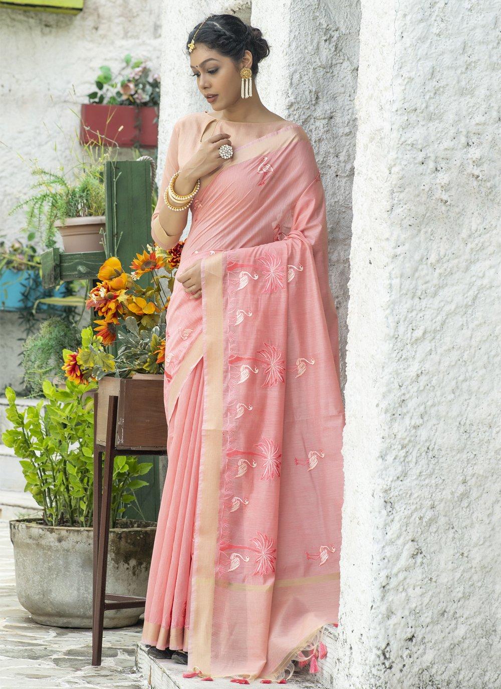 Cotton Resham Classic Saree in Pink