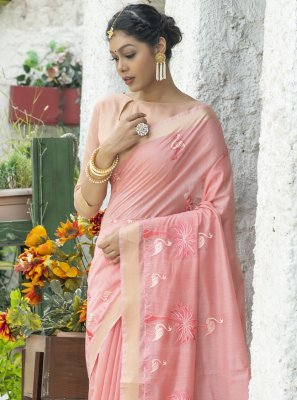 Cotton Resham Classic Saree in Pink