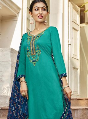 Cotton Satin Pant Style Suit in Rama