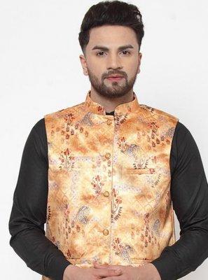 Cotton Satin Printed Orange Nehru Jackets