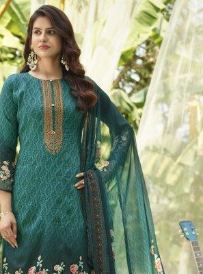 Cotton Sea Green Designer Palazzo Salwar Suit