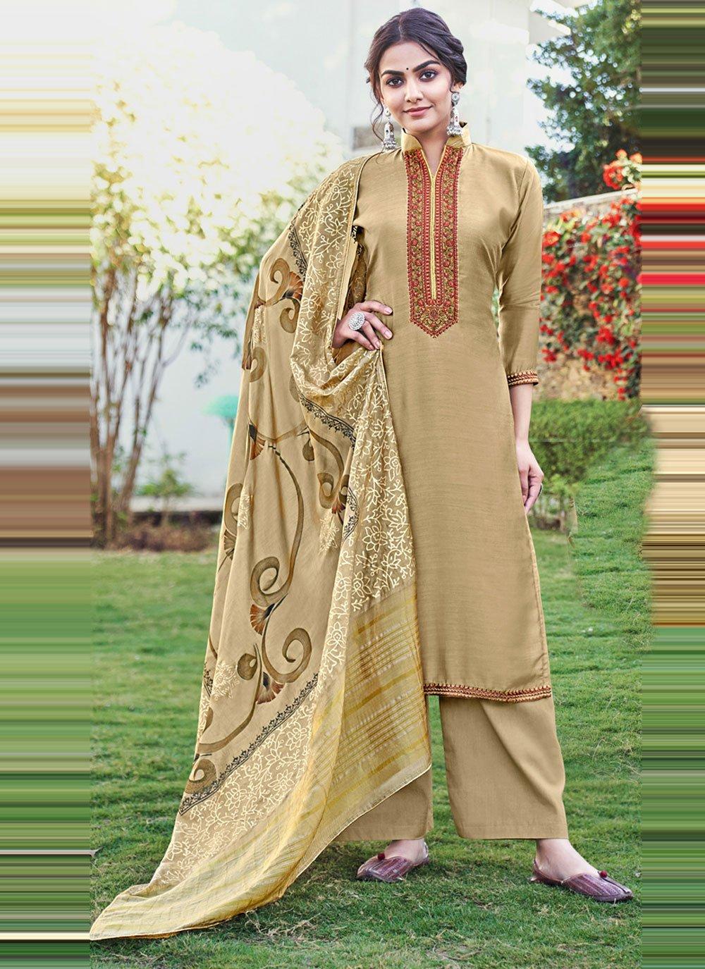 Cotton Silk Beige Designer Palazzo Suit