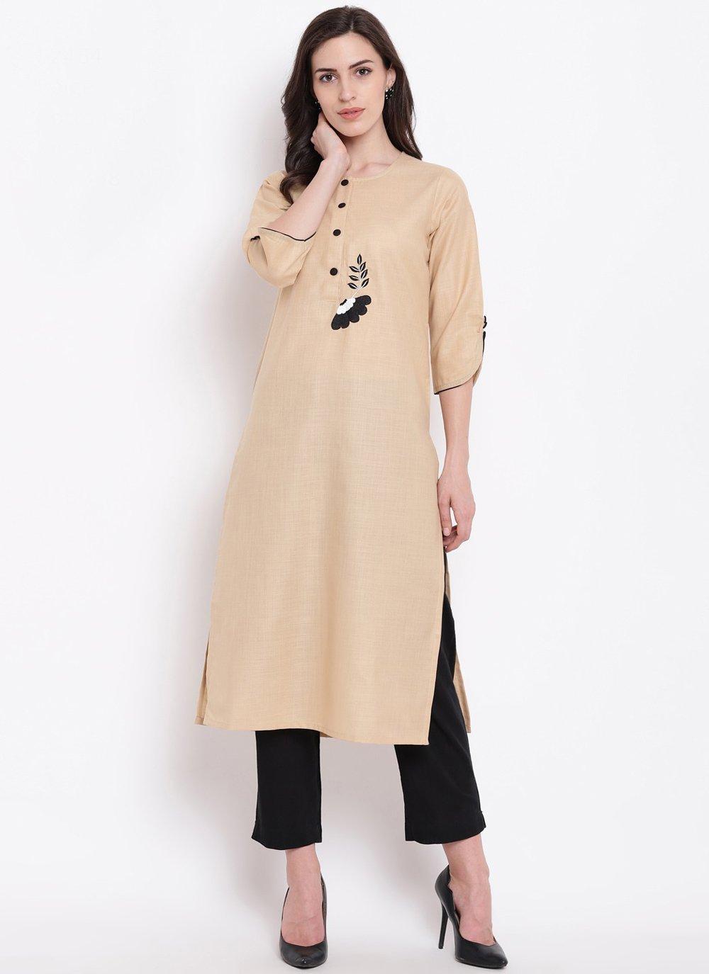 Cotton Silk Beige Print Party Wear Kurti