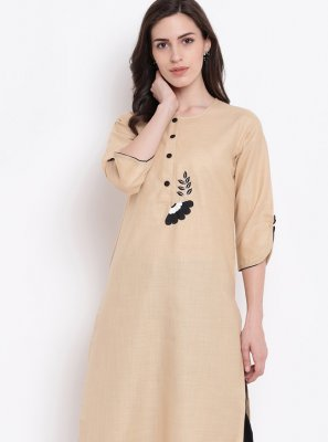 Cotton Silk Beige Print Party Wear Kurti