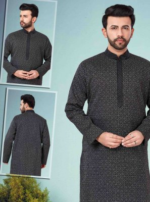 Cotton Silk Black Embroidered Kurta Pyjama