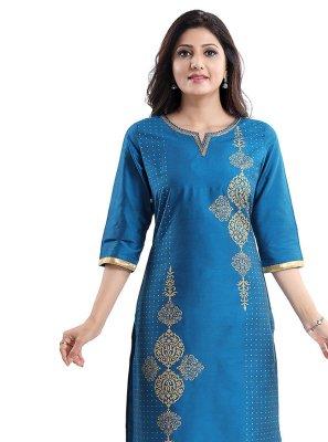Cotton Silk Blue Designer Kurti