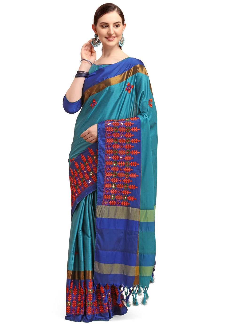Cotton Silk Blue Embroidered Traditional Saree