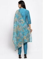 Cotton Silk Blue Print Readymade Suit