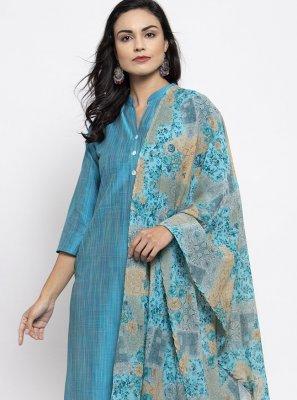 Cotton Silk Blue Print Readymade Suit